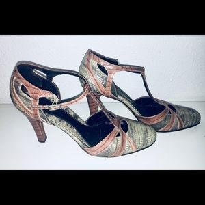 """Snakeskin"" T-Strap heel in grey and rose"